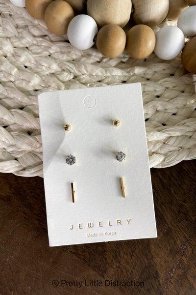 Mini Bar and CZ Earring Set