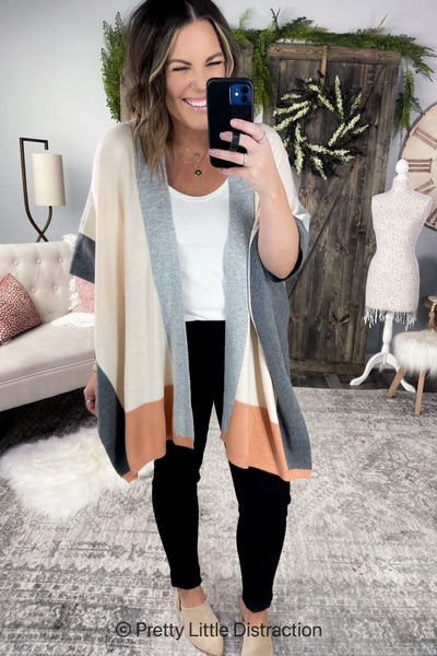 Colorblock Knit Kimono