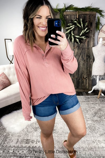 Ribbed Henley Top