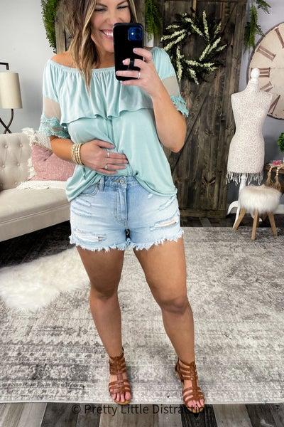 KanCan Rainbow Distressed Shorts
