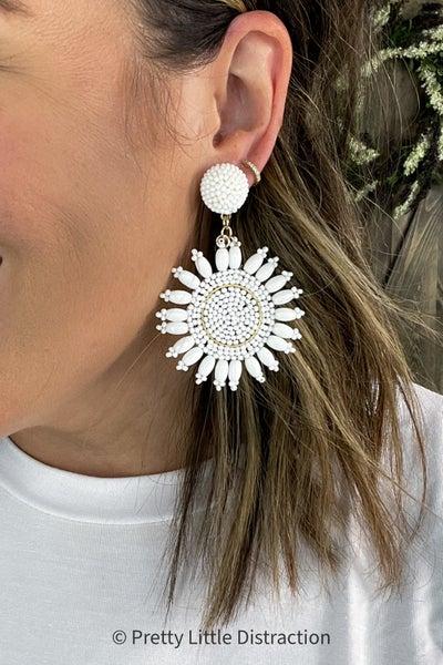 Bead Flower Dangle Earrings