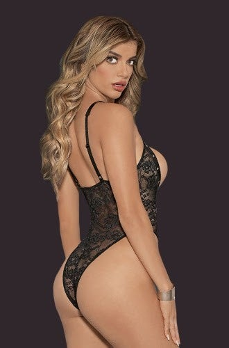 Floral Lace High-Cut Teddy - One Size Fits Most