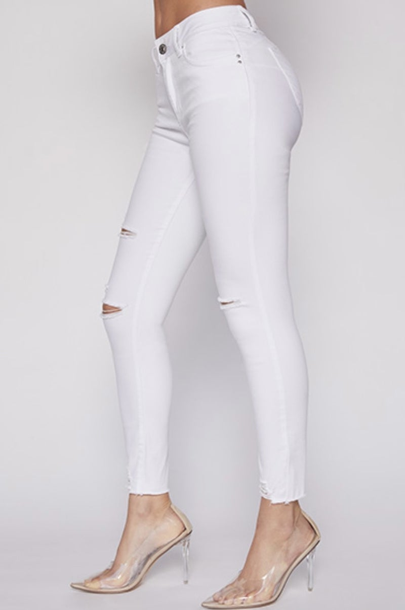 YMI White Distressed Skinnies