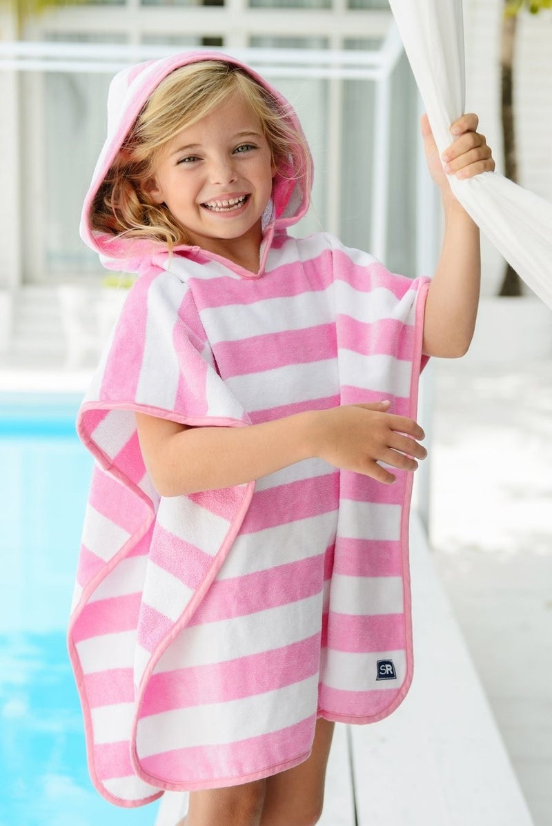 Pink and White Striped Hooded Towel