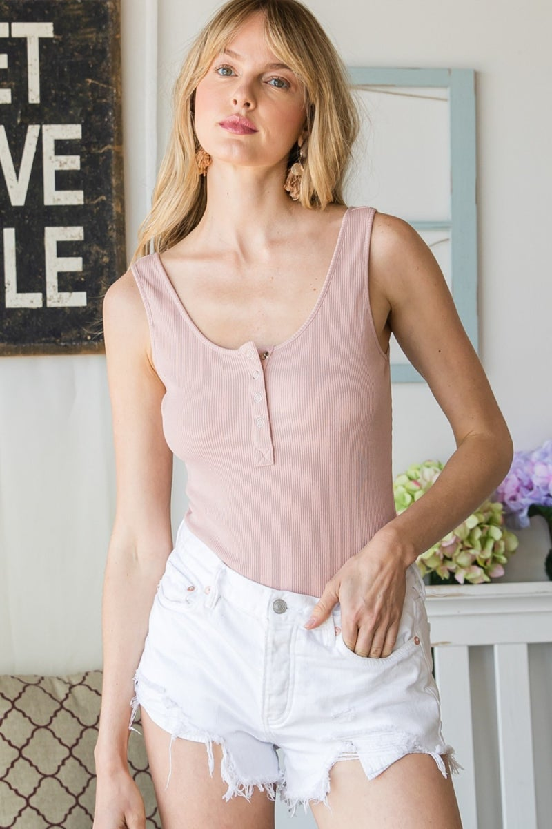 Scoop Neck Ribbed Body Suit