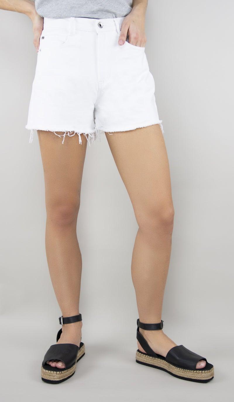 Tractr Blu High Rise White Jean Shorts