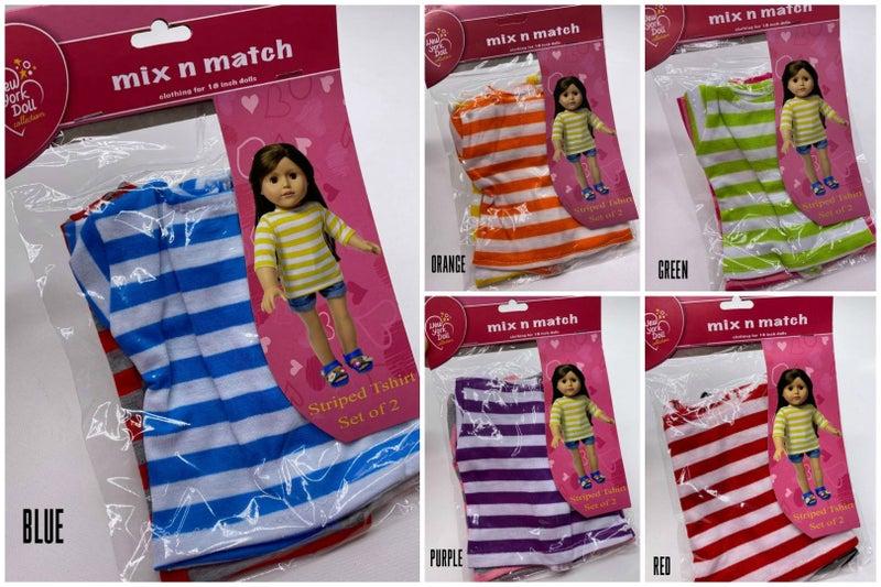 18-inch doll striped t-shirt