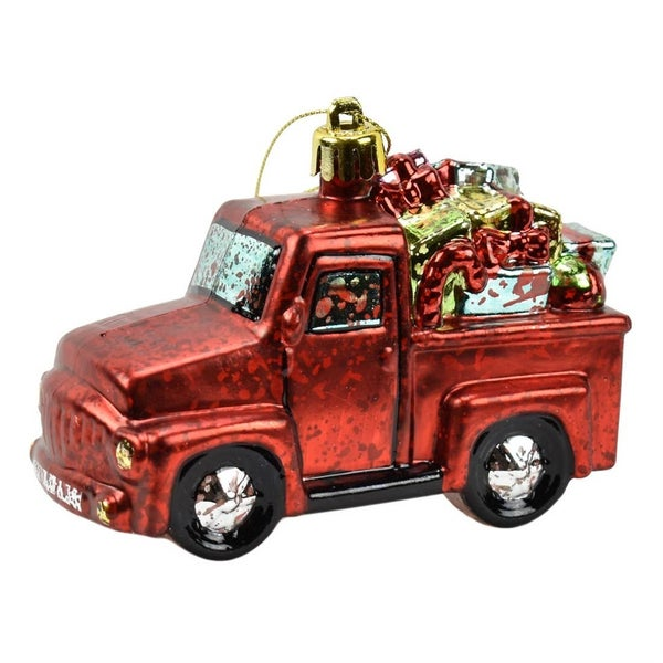 Antique red truck with presents ornament