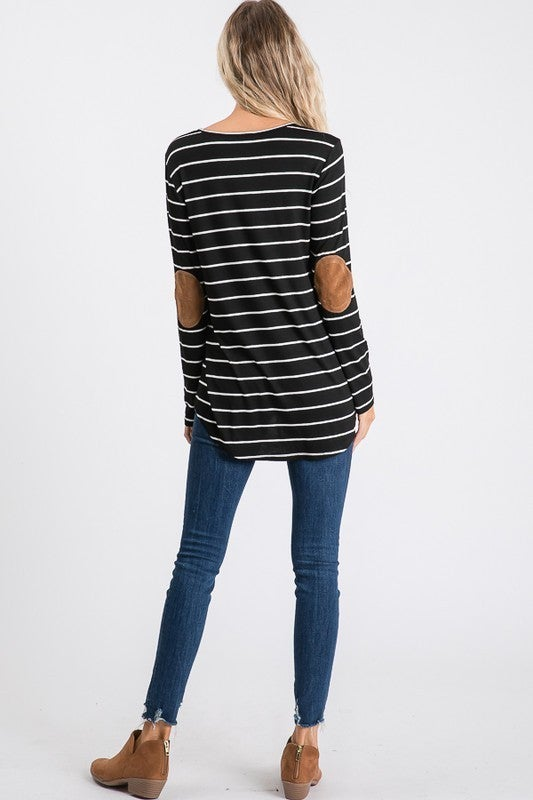 Black and white striped top with elbow patch