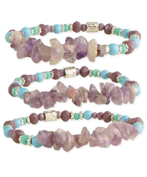 Amethyst chip boho stretch bracelet trio (set of 3)