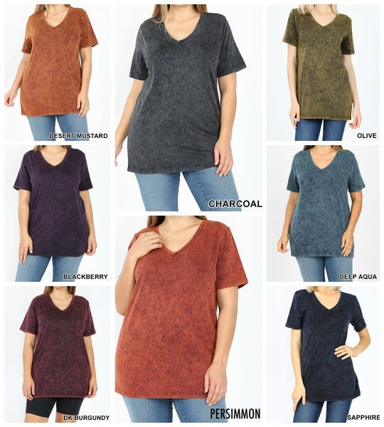 Mineral Wash V-neck Top