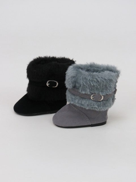 Grey furry boots with buckle : 18-inch doll clothing