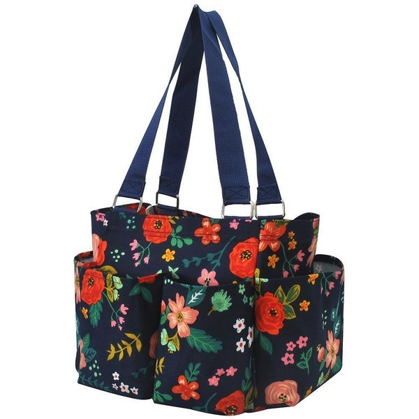 Floral Navy Small Utility Tote