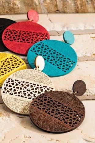 Filigree laser cut wood circle earrings