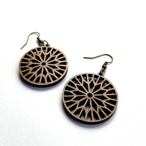 Geometric wood dangle earrings
