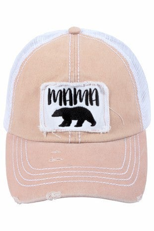 'Mama Bear' distressed  trucker hat