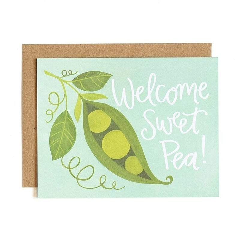 """Welcome Sweet Pea!"" New Baby Greeting Card"
