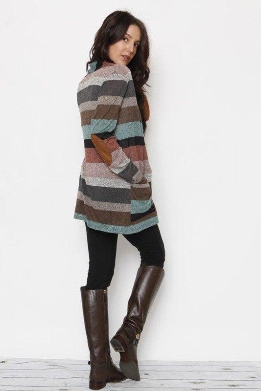 Multi-stripe long Sleeve pocket Cardigan *Final Sale*