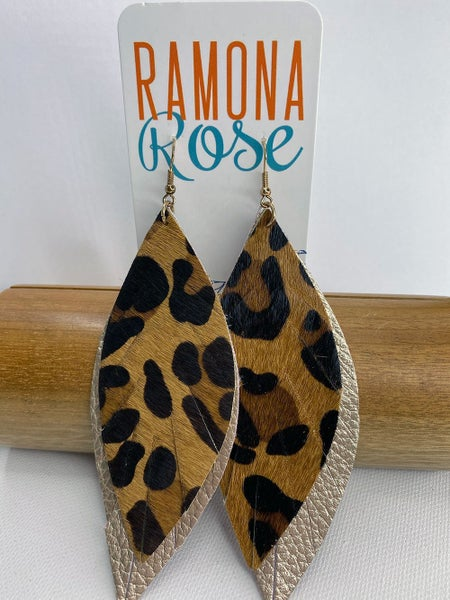 Animal print and gold faux leather drop earrings