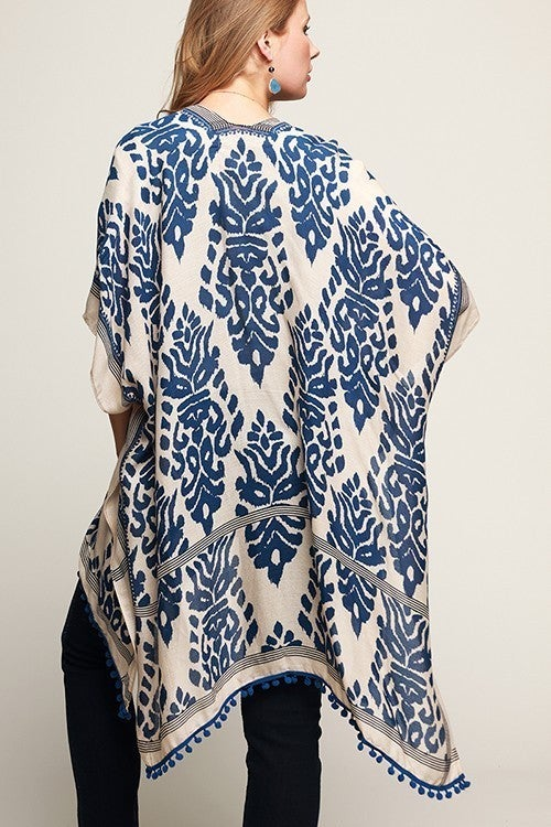 Damask Print Kimono