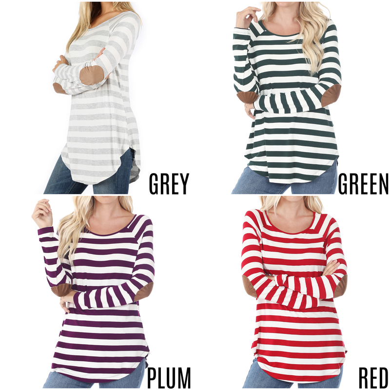 Striped top with elbow patches