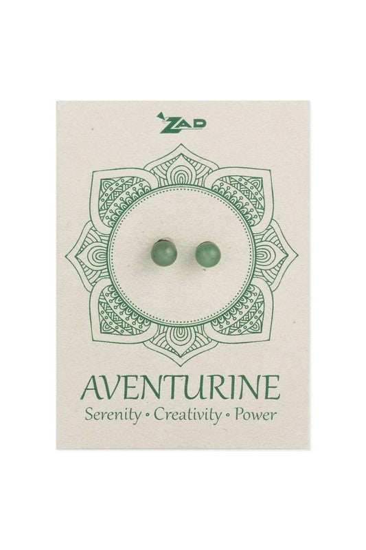 Genuine stone round ball post earring on card