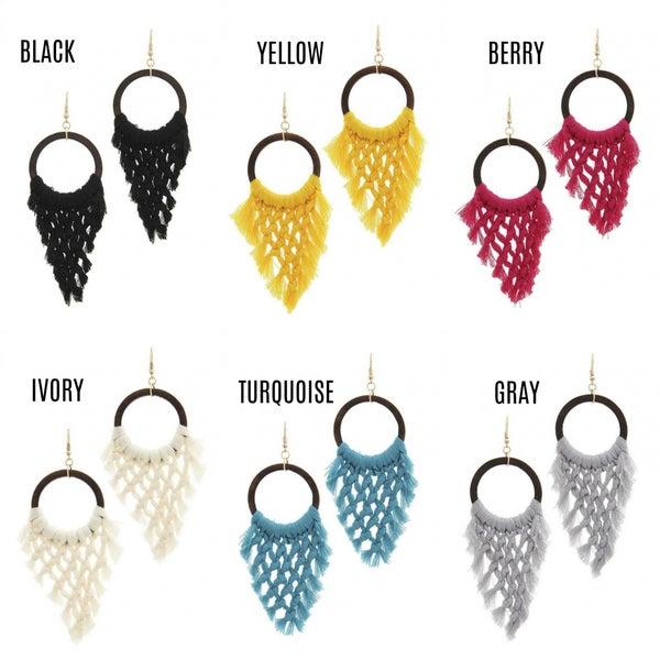 Wood and woven dangle earrings