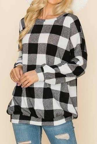 Comfy buffalo check oversized sweater