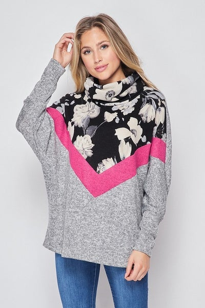 Cowl neck top with gorgeous floral and pink accent