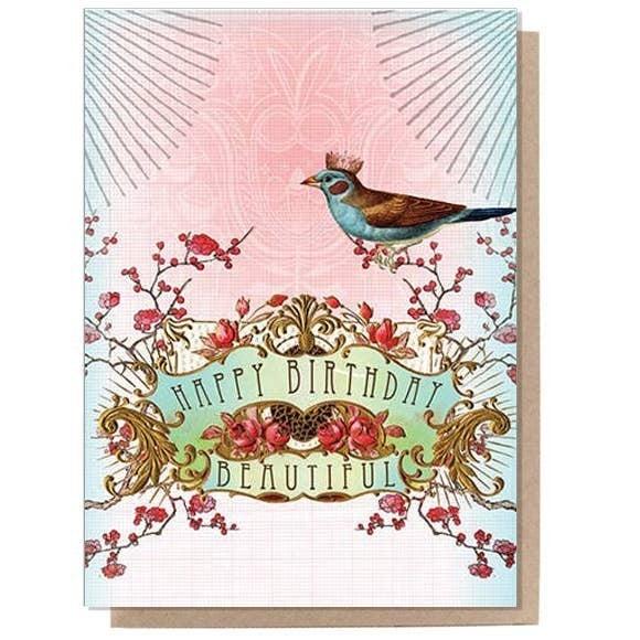 'Happy Birthday Beautiful' card : Papaya