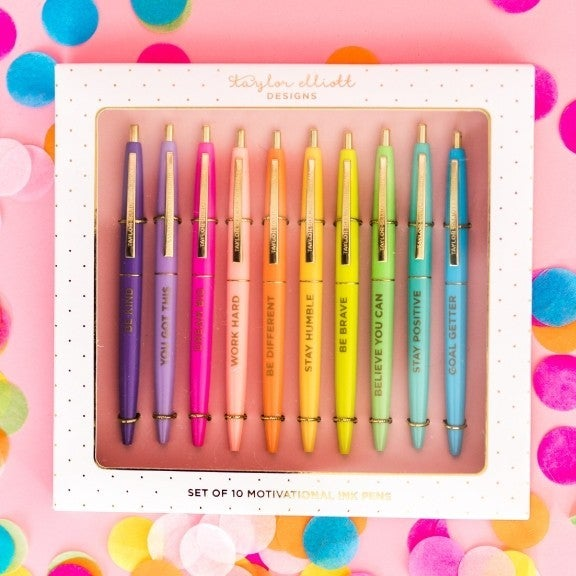 Motivational Pen Set - Set of 10 pens