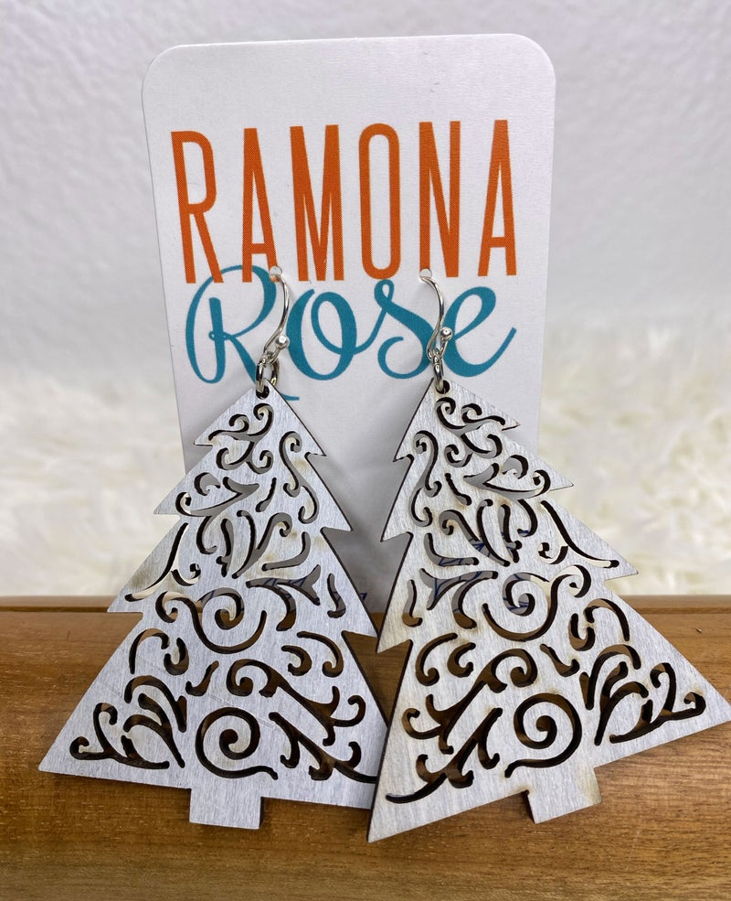 Wooden holiday tree earrings