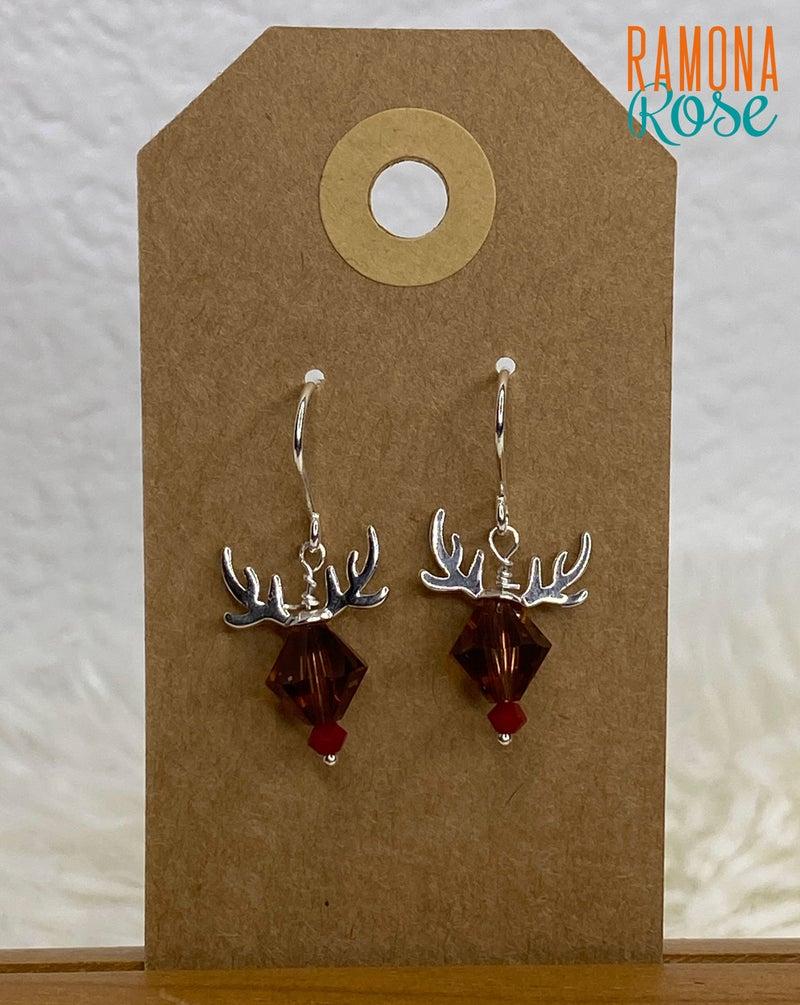 Reindeer Swarovski Crystal  Sterling Silver Earrings