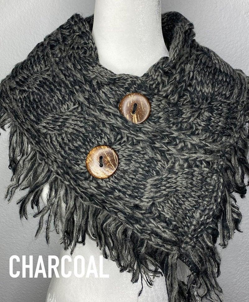 Fringe wrap shoulder scarf with buttons
