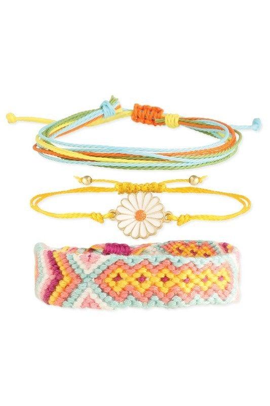 Hippy Happy Woven Flower Pull Bracelet Trio