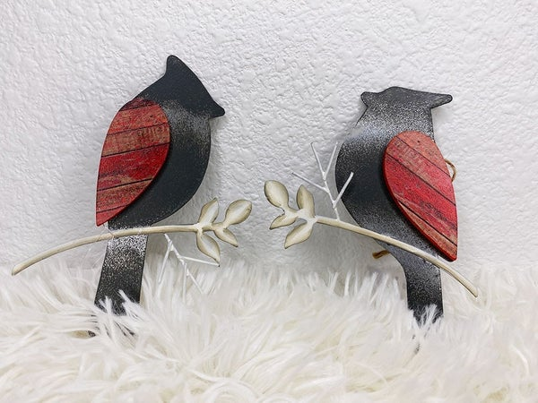 Pair of galvanized Cardinal ornaments