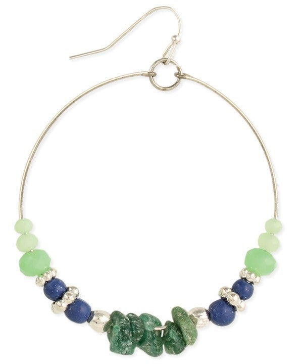 Amethyst and glass green/blue beaded earrings on silver wire hoops