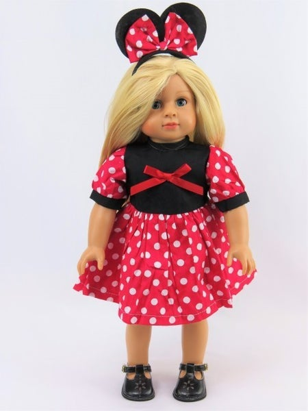 'Magical' mouse dress with mouse ears : 18-inch doll clothing