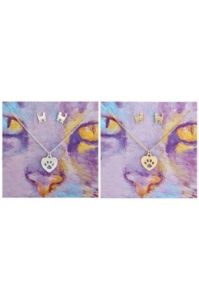 Feline fine necklace and earrings set