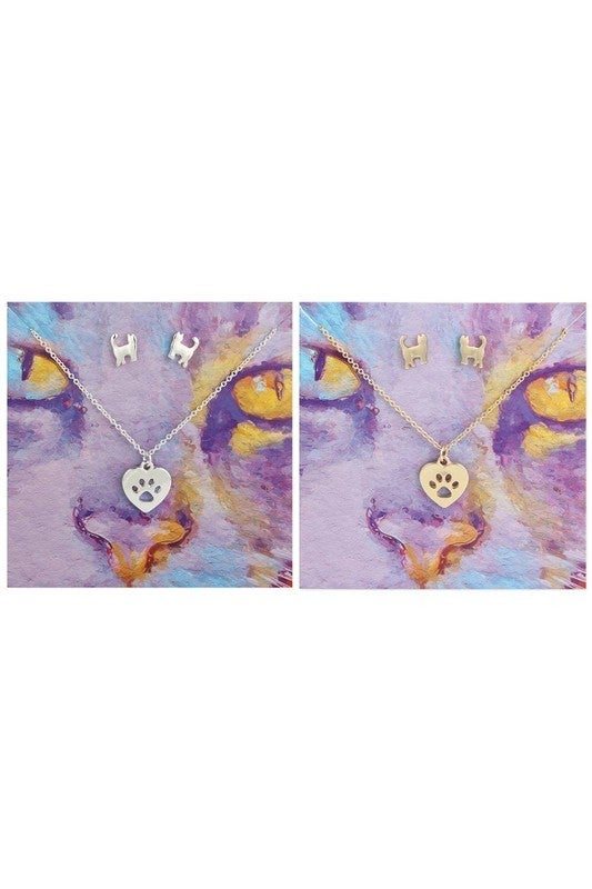 Feline fine necklace and earrings set