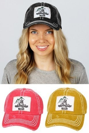 'Let the Adventure Begin' distressed hat
