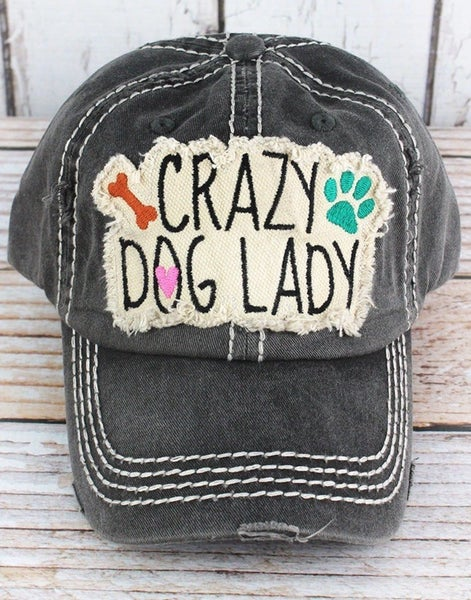 Crazy dog lady distressed ball cap