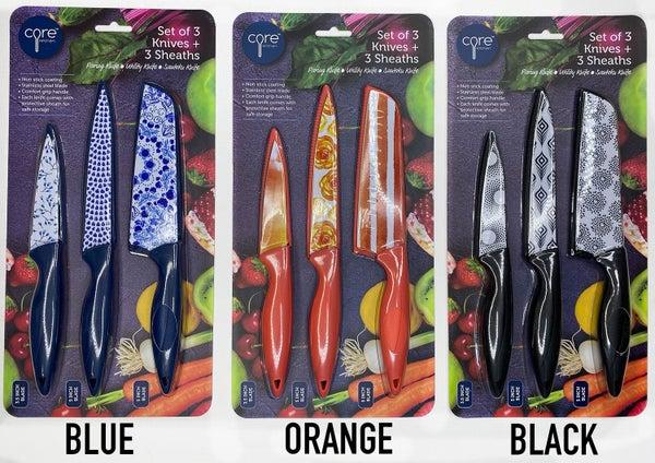 Core Set of 3 Knives + 3 Sheaths set