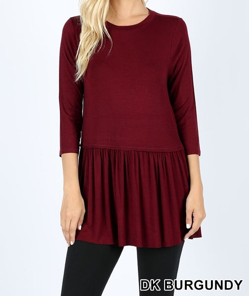 Ruffle bottom 3/4 sleeve top
