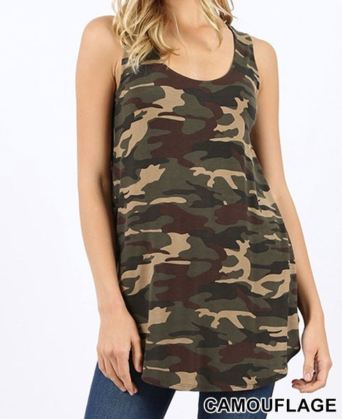 Camo tank top with scoop hem