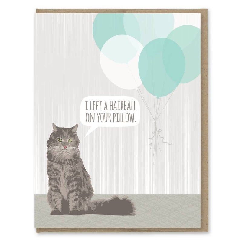 Cat Hairball Birthday Card