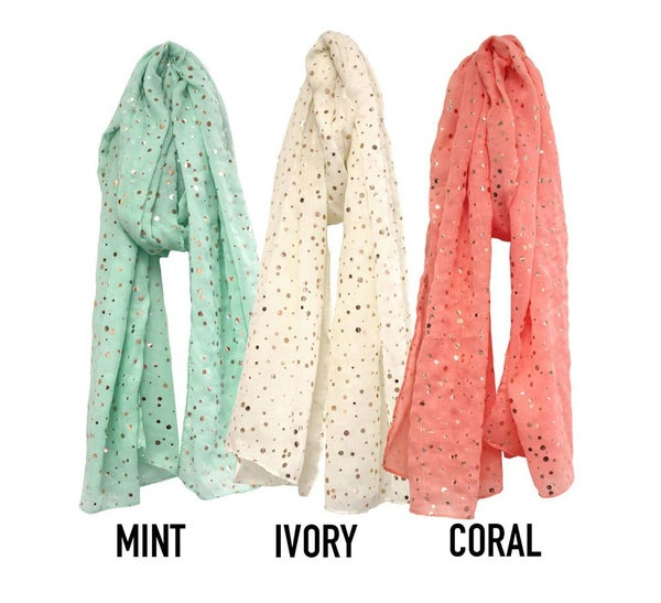 Foil polka dot sheer scarves