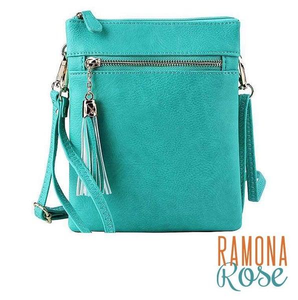 Multi-compartment crossbody purse, vegan leather