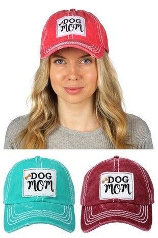'Dog Mom' distressed hat