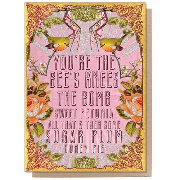 """You're the Bee's Knees"" greeting card : Papaya"